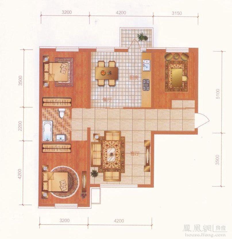 中央大都会 - 三室两厅一卫