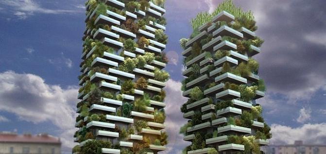 """据介绍,目前位于米兰的""""垂直森林""""已基本完工,共种植21000棵植物,包含130余个品种,相当于1万"""