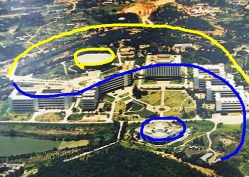 深圳大学高空俯瞰形似八卦图