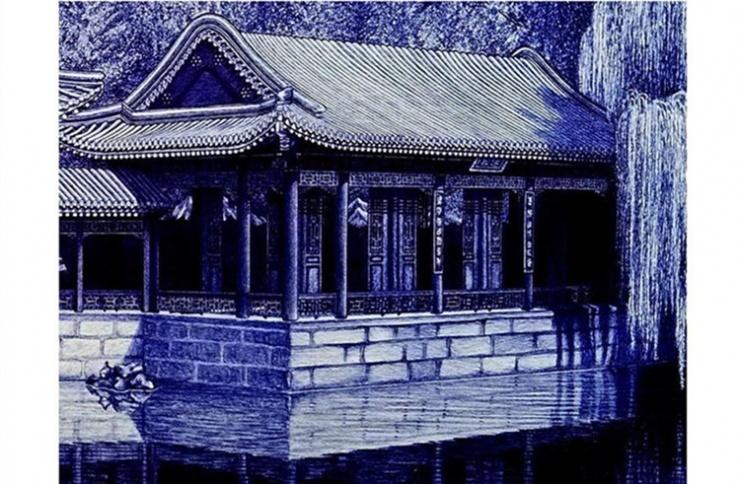 而且用圆珠笔画出来的房子建筑也是栩栩如生