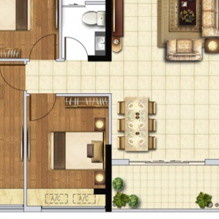 E1户型114㎡三房两厅