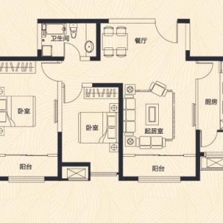 高层1、7、8号楼标准层B户型