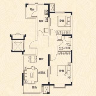 洋房2-6号楼标准层E户型