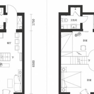 一期高层标准层两室100平户型