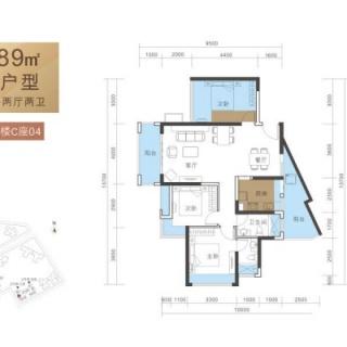 D户型89平3房2厅2卫