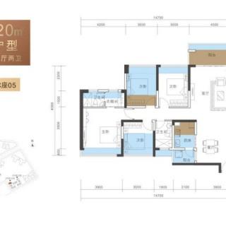 B户型120平4房2厅2卫