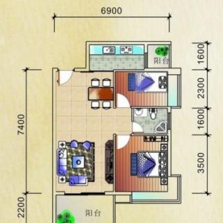 公寓紧凑型户型64.00㎡