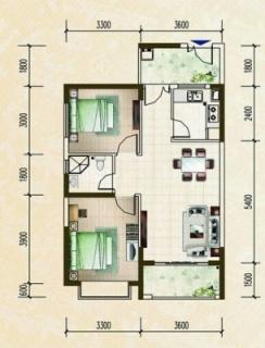 柏林园两房公寓户型图
