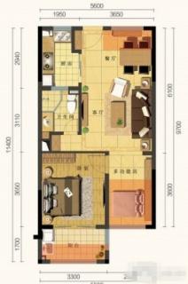 D户型 2室1厅(62㎡)