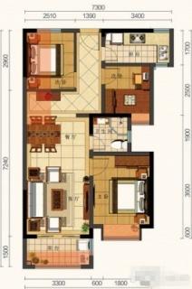 C户型 3室2厅(72㎡)