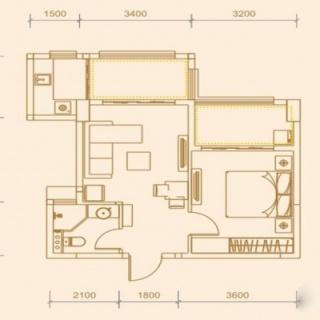 54.26平米一房两厅一卫