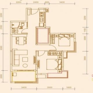 76.81平米两房两厅一卫
