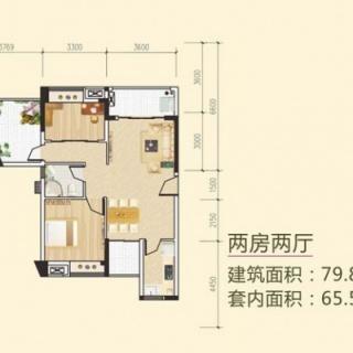 多层两房两厅户型4