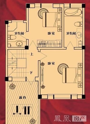 联排别墅210㎡m户型二层平面图