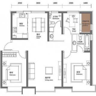 二期5#标准层金角139平三居户型