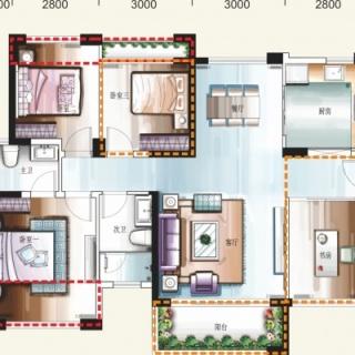 创意空间四房两厅两卫01/02户型  约108-112平