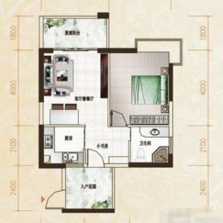 米兰园1房户型1室1厅1卫