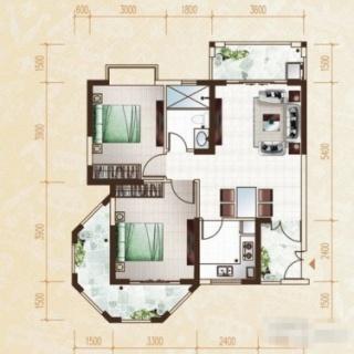 柏林园2房户型2室2厅1卫