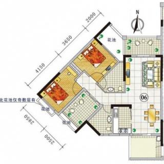 三期城中荟豪景阁A栋2-13层06户型
