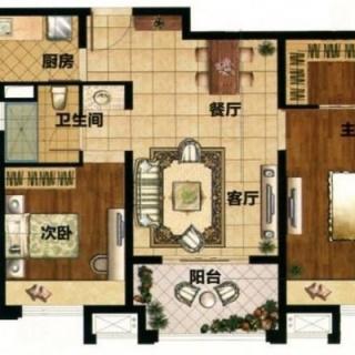 90平2房户型