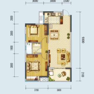 A1、A2号楼92.5平米户型