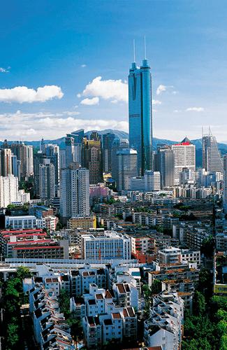 广州东塔和广州西塔构成广州新中轴线.