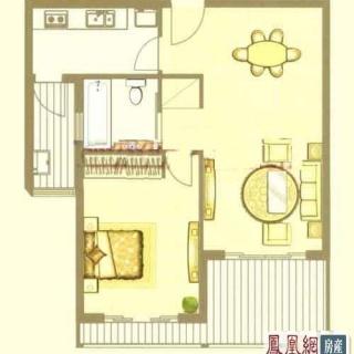 中鹰黑森林2号楼05单元户型 1室2厅1卫