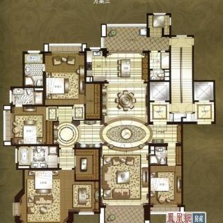 上海星河湾a1户型方案三 4室3厅4卫2厨 373.00㎡