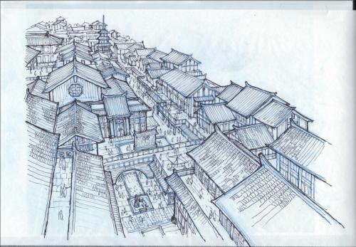 邯郸勒泰中心建筑设计手绘稿