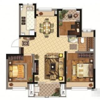 90.00㎡3室2厅1厨1卫B户型
