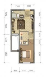 公寓6、7#标准层52平米户型