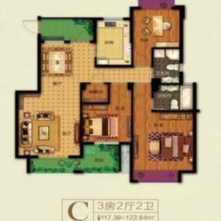 122平3房C户型