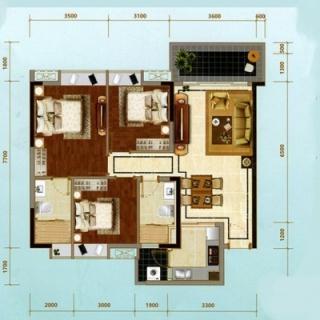 建面109㎡三房户型
