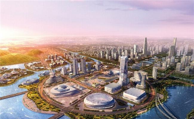 """科技岛则相当于是""""未来科技城公共中心"""",坐落于西溪湿地."""
