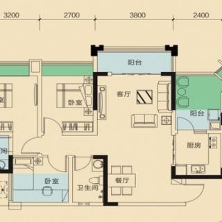 二期1号楼标准层A3户型