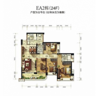 蔚蓝高尔夫组团EA2洋房24楼02户型