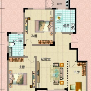 一期洋房6号楼标准层两室户型