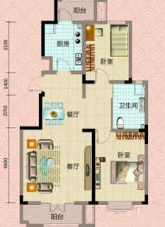 一期洋房4号楼标准层两室户型