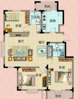 一期洋房5号楼标准层三室户型