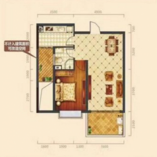 一房两厅一卫户型