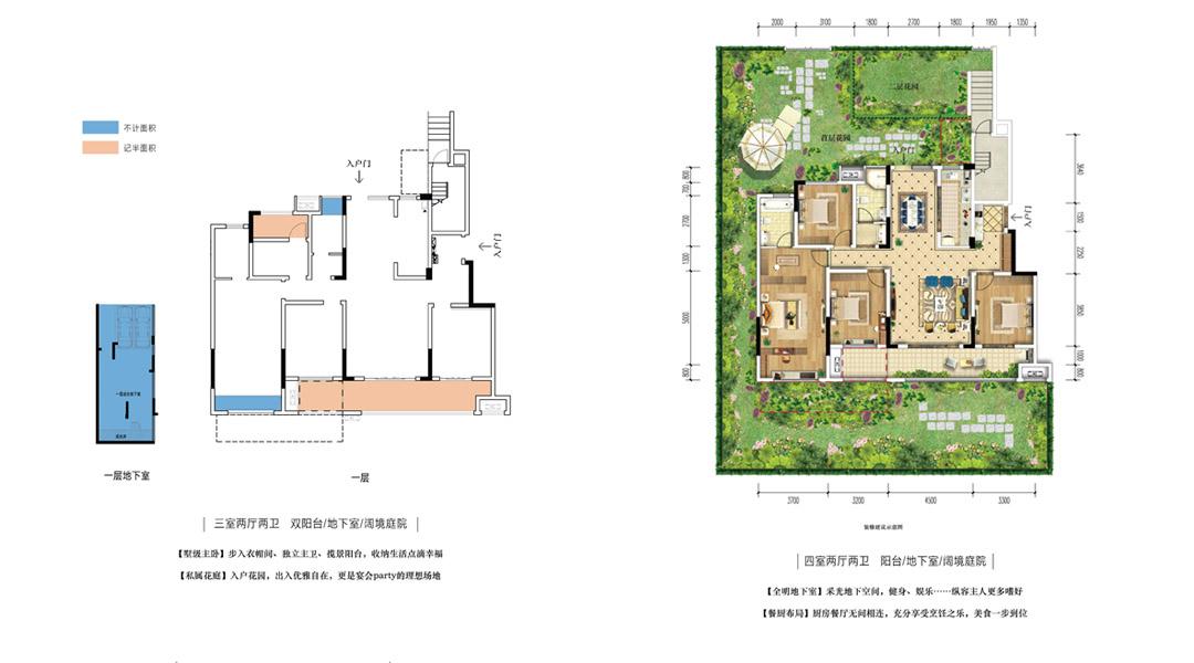 A户型 · 首层 【四室两厅两卫 阳台/地下室/阔境庭院】