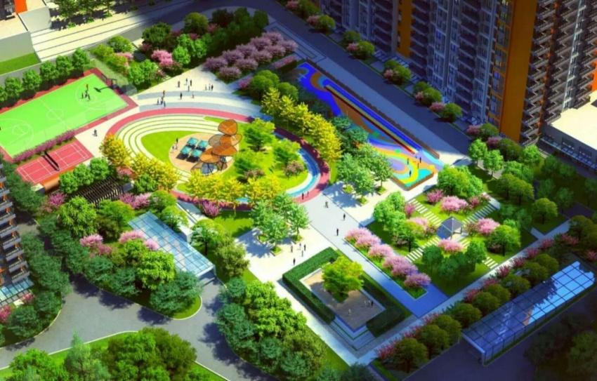 主题活动区里设有主入口景观,儿童乐园和运动健身区.