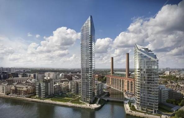 和记黄埔位于切尔西的新公寓Chelsea Waterfront,该项目占地8.8英亩、拥有600米长的滨河区域,两栋塔楼分别高37层和25层。