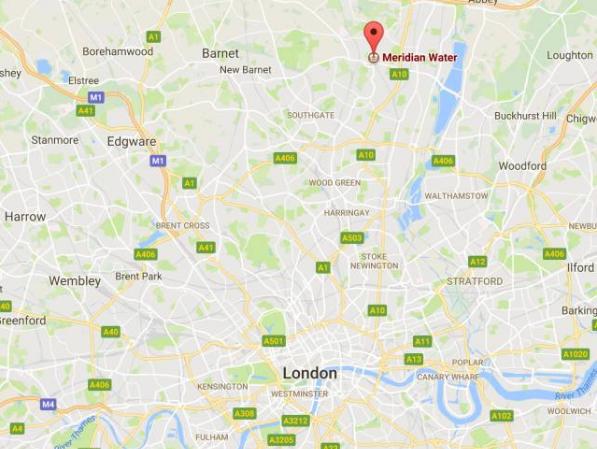 图为Meridian Water地块位置,未来新火车线路通车后,距离伦敦金融城仅24分钟火车车程。