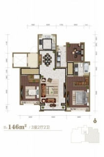 洋房标准层146平米户型
