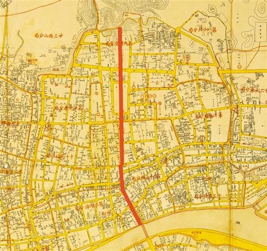 民国广州地图,红线为中轴线