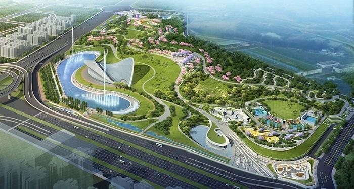 同时作为主舞台演出背景,在规划设计的32-40米喷泉中心各又增加一处