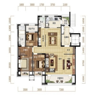 洋房140平标准层户型