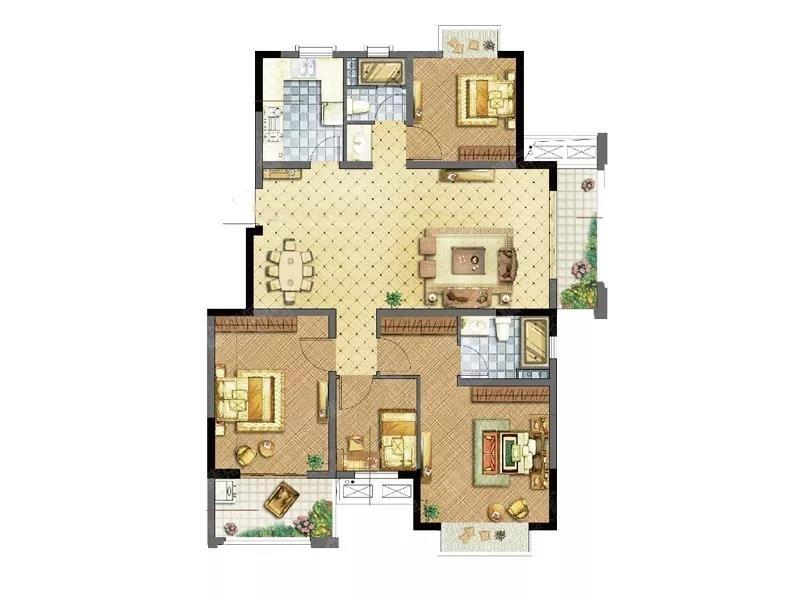 四室一厅房屋设计图纸及效果图大全