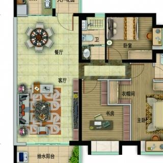 Y057-B户型,3室2厅2卫